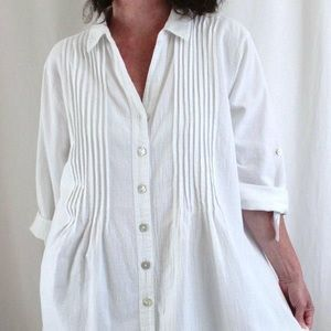 Maeve pleated button down tunic